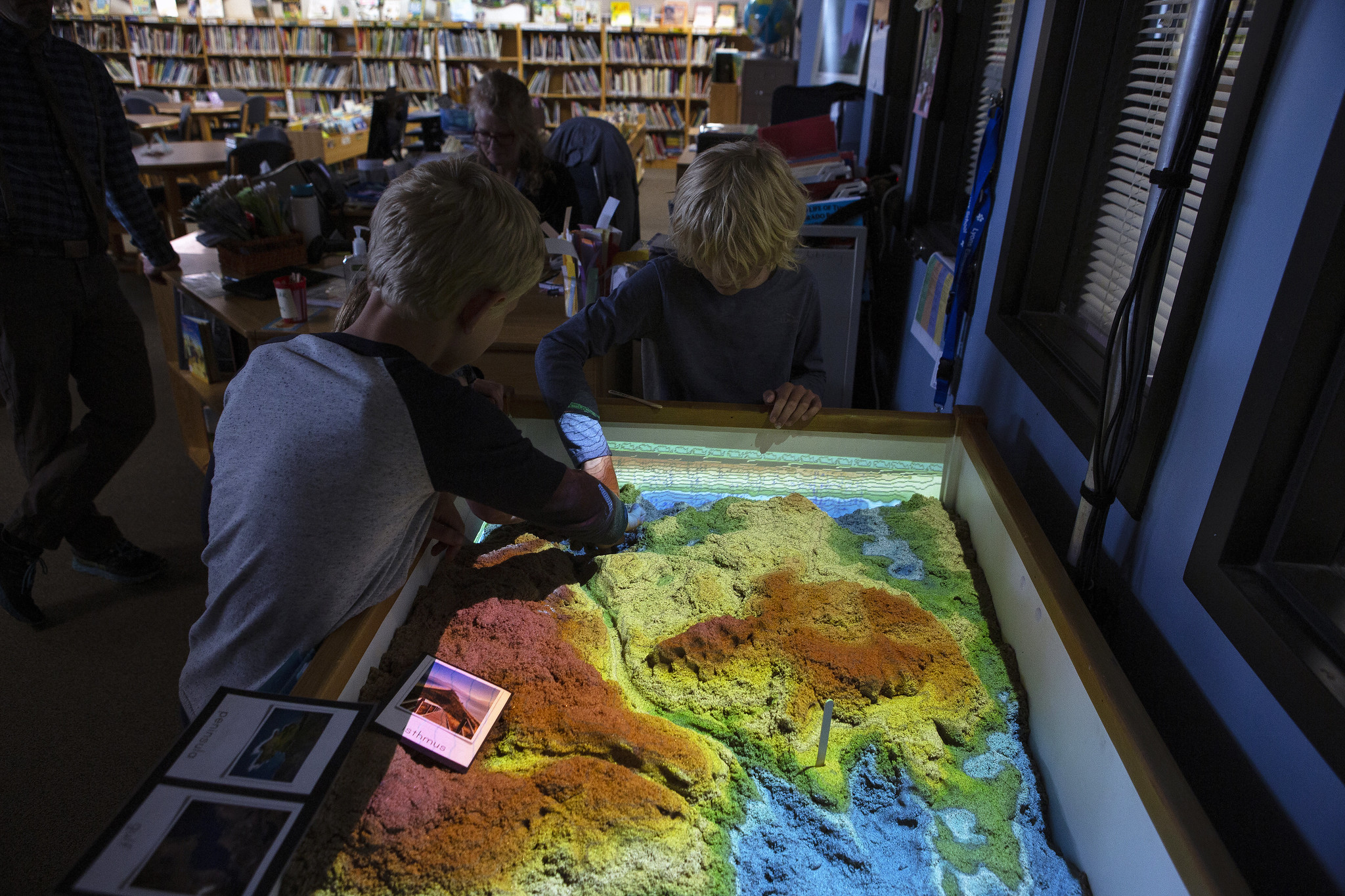 students working with a 3-d map
